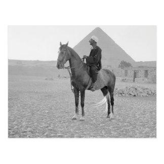 The Pyramids of Giza with Horseman circa 1934 Postcard