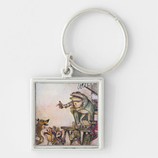 The Quack Frog Silver-Colored Square Key Ring