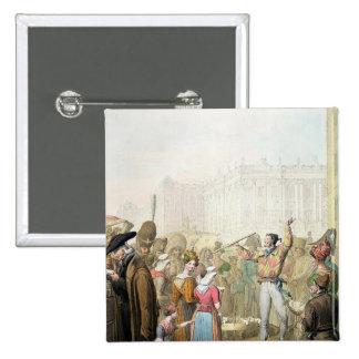 The Quai d'Ecole, Paris, 1831 15 Cm Square Badge