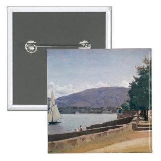 The Quai des Paquis, Geneva, c.1842 15 Cm Square Badge