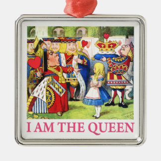 """The Queen of Hearts Tells Alice, """"I Am the Queen!"""" Silver-Colored Square Decoration"""