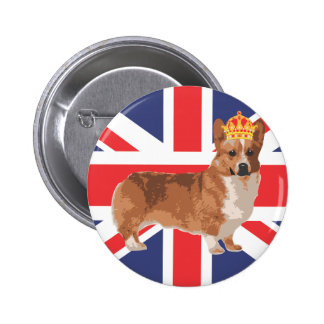The Queen's Corgi with Crown and Union Jack 6 Cm Round Badge