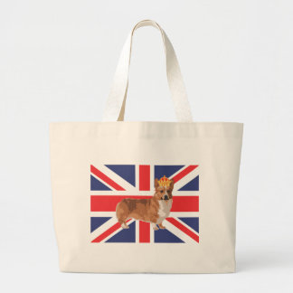 The Queen's Corgi with Crown and Union Jack Large Tote Bag