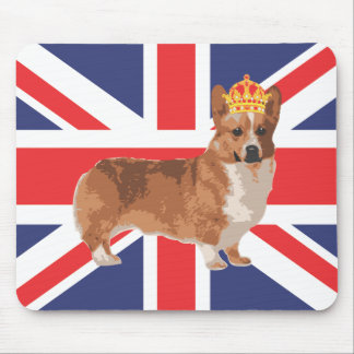 The Queen's Corgi with Crown and Union Jack Mouse Pad