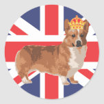The Queen's Corgi with Crown and Union Jack Round Sticker