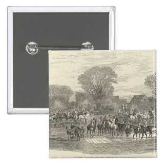The Queen's Stag Hounds: The Meet, Aylesbury 15 Cm Square Badge