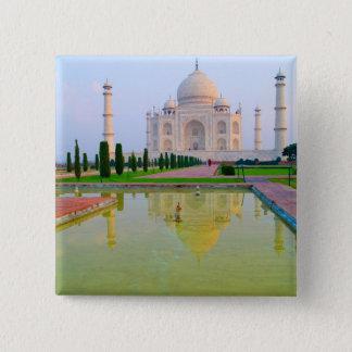 The quiet peaceful World Famous Taj Mahal at 15 Cm Square Badge