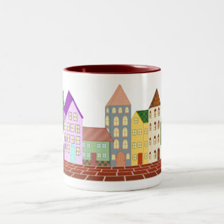 """The Quirky Folk Village"" Two-Tone Coffee Mug"