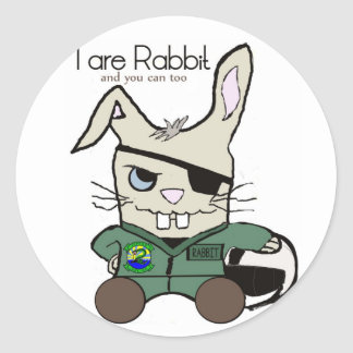 The Rabbit. A helicopter pilot. STICKERS! Classic Round Sticker
