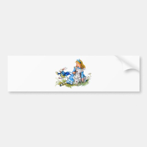 THE RABBIT IS LATE AS HE RUSHES BY ALICE BUMPER STICKERS