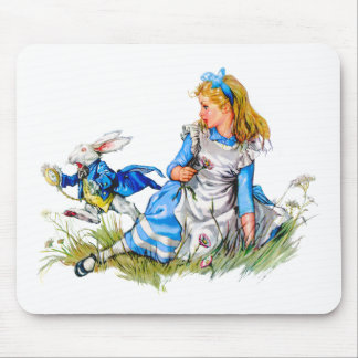 THE RABBIT IS LATE AS HE RUSHES BY ALICE MOUSE PAD