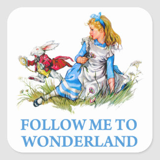 "The Rabbit tells Alice, ""Follow me to Wonderland"" Square Sticker"