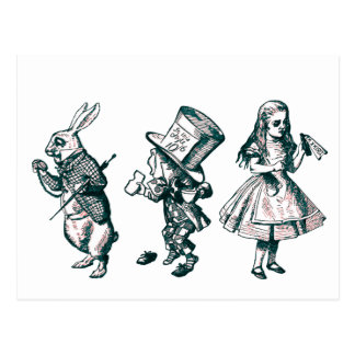 The Rabbit, the Hatter & Alice from Wonderland Postcard