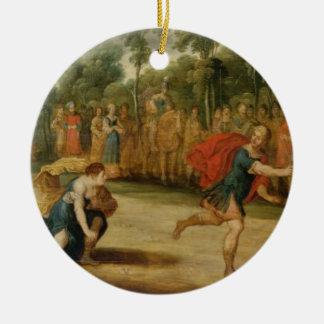 The Race of Atalanta and Hippomenes (oil on panel) Round Ceramic Decoration