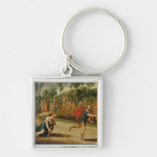 The Race of Atalanta and Hippomenes (oil on panel) Silver-Colored Square Key Ring