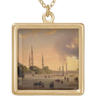 The Racecourse at Constantinople (oil on canvas) Gold Plated Necklace