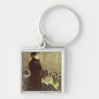 The Races at Auteuil, Paris (oil on canvas) Silver-Colored Square Key Ring