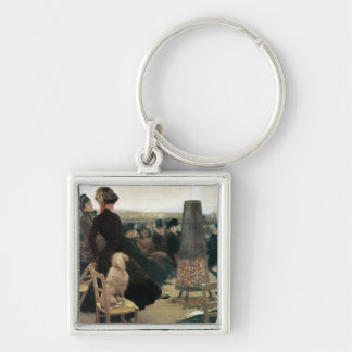 The Races at Auteuil, part of a triptych (oil on c Silver-Colored Square Key Ring