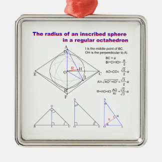 The radius of an inscribed sphere in octahedron Silver-Colored square decoration