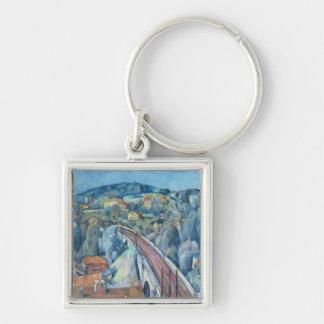 The Railway Bridge at Meulen Silver-Colored Square Key Ring