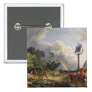 The Rainbow, 1784 (oil on canvas) 15 Cm Square Badge