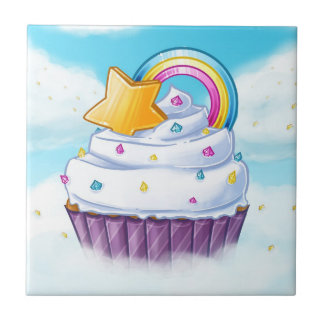 The rainbow cupcake small square tile