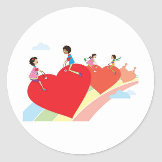 The rainbow of love round sticker