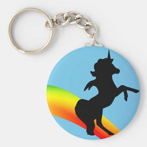""""""" The Rainbow Unicorn """" Basic Round Button Key Ring"""
