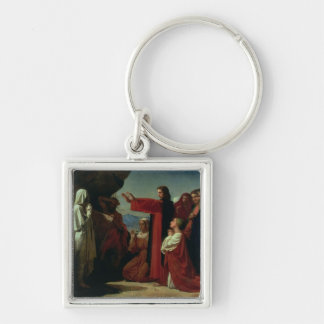 The Raising of Lazarus, 1857 Silver-Colored Square Key Ring