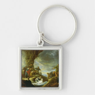 The Raising of Lazarus 3 Silver-Colored Square Key Ring