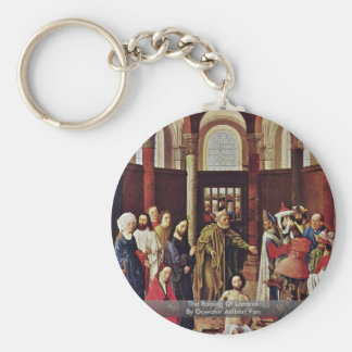 The Raising Of Lazarus By Ouwater Aelbert Van Basic Round Button Key Ring
