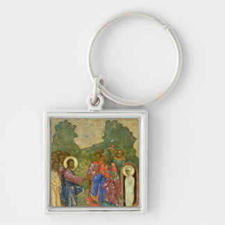 The Raising of Lazarus, Russian icon Silver-Colored Square Key Ring