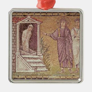 The Raising of Lazarus Silver-Colored Square Decoration