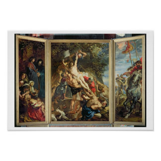 The Raising of the Cross, 1610-11 (oil on panel) Poster