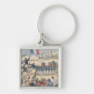 The Raising of the French Flag at Timbuktu Silver-Colored Square Key Ring