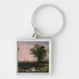 The Rape of Europa, 1655 Silver-Colored Square Key Ring