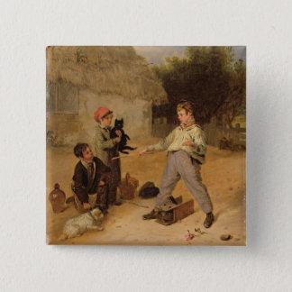 The Rat Trap (oil on panel) 15 Cm Square Badge
