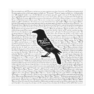 The Raven Complete Poem by Edgar Allan Poe 12x12 Canvas Print