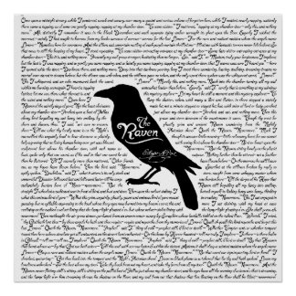 The Raven Complete Poem by Edgar Allan Poe Poster