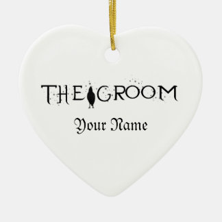 The Raven Groom Ceramic Heart Decoration
