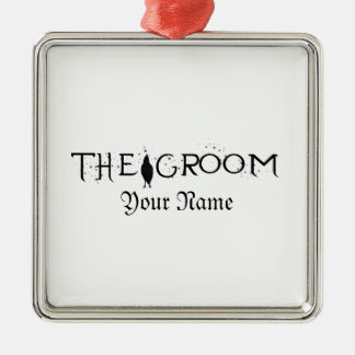 The Raven Groom Silver-Colored Square Decoration