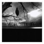 The Raven - Nevermore Sunbeams Tree B&W Custom Announcements
