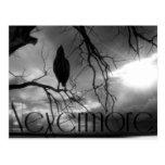 The Raven - Nevermore Sunbeams & Tree B&W Post Card