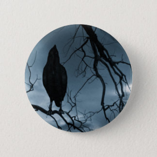 The Raven - Nevermore Sunbeams & Tree Blue 6 Cm Round Badge