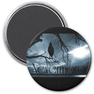 The Raven - Nevermore Sunbeams & Tree Blue 7.5 Cm Round Magnet