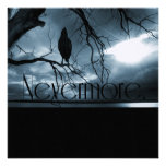 The Raven - Nevermore Sunbeams & Tree Blue Personalized Invitations