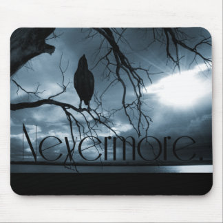 The Raven - Nevermore Sunbeams & Tree Blue Mouse Mat