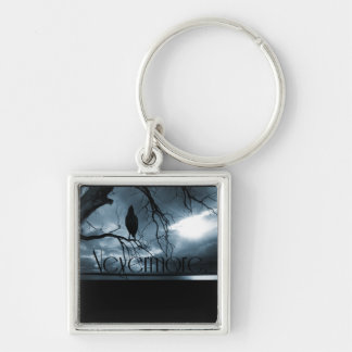 The Raven - Nevermore Sunbeams & Tree Blue Silver-Colored Square Key Ring