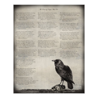 The Raven Poem Poster with Black Bird and Skulls