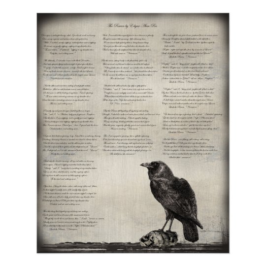 The Raven Poem Poster with Black Bird and